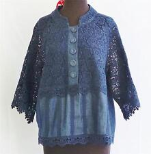 Navy Blue Cotton lace Evening, Occasion, Floral Blouse New handmade 3/4 sleeve
