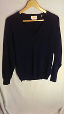 Cezar Made In Italy Men's V-Neck Sweater Long Sleeve Solid Blue L