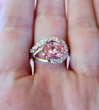 Pink Topaz Ring w/ Clear Cubic Zirconias-Silver Womens size 7 3/4