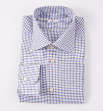 NWT $795 KITON NAPOLI Sky Blue-Brown Check Cotton Dress Shirt 17 Modern-Fit