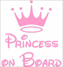 Personalize PRINCESS ON BOARD decal sticker vinyl art vehicle car children's PB2