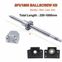 250-1000mm Antibacklash SFU1605 Rolled Ballscrew Ballnut BK/BF12+End Support Kit