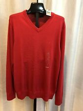 New with Tags Nautica  Sailor Red Sweater Men's S S73110 V NECK SMALL