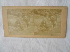"""Vue stéréoscopique plaque carton photo """" les chasseurs gibier le petit canon  """""""
