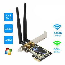 Dualband 2,4G / 5G PCI-E WLAN-Kartenadapter 600 Mbit / s für Desktop-Computer