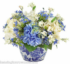 "FLOWER ARRANGEMENTS - ""ENGLISH MANOR HOUSE"" SILK FLOWER ARRANGEMENT - HYDRANGEAS"