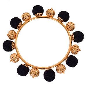 DOLCE & GABBANA RUNWAY Sicily Sicilia Natale Bracelet Gold Black 06450
