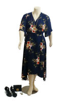 TULIPS Floral Navy Wrap Sundress With Flowy Sleeves | Size: 18