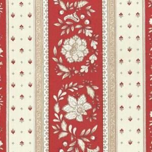 Textiles français Provençal stripe floral wreath fabric (Red) - 100% Cotton