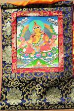 Elegant Tibetan Thangka Painting 24 Karat Gold Jambhala Auth WC w/ Brocade
