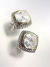 EXQUISITE Balinese Silver Wheat Cable Clear Quartz CZ Crystal Square Earrings