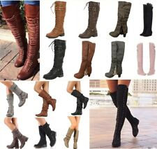 Military Riding Boots Womens Over Knee Thigh High Block Heel Lace Up Shoes Boots