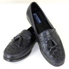 Black Loafer 10.5 D Kilt Woven Leather Tassel Strafford Essentials Mens Shoes