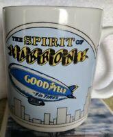 Vintage Goodyear Blimp Spirit Of Akron Porcelain Coffee Mug USA Hand Decorated
