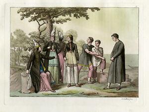 Antique Print-ICELAND-CLOTHES-PEOPLE-PL.XXVII.-Ferrario-Gallina-c.1827