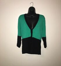 WOMEN'S NEW YORK & COMPANY green Sweater Long Sleeve Button SZ L Large