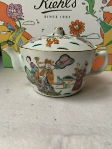 Antique Chinese Export Famille Rose Porcelain Ceramic Teapot With Lid