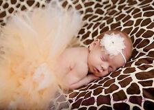 NEW BABY GIRL NEWBORN  Tulle TUTU Headband PHOTO Accessories CREAM OUTFIT 0/6M