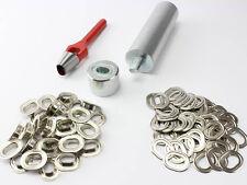 Oval Ösen Einschlagstempel Locheisen 17 x 11 mm + 20 Ovalösen Messing Nickel