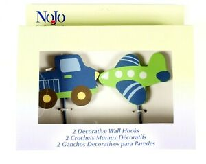 Airplane and Truck Wall Hooks Nursery Decor Set of 2 NoJo