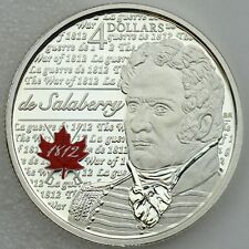 2013 de Salaberry $4 Pure Silver Color Proof Coin ¼ Troy oz. War of 1812