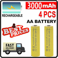 4 x AA 2A 3000mAh rechargeables piles 1.2V Ni-Mh solar lights téléphone MP3 CD