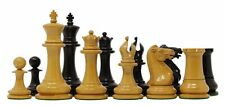 """Nathaniel 1849 Antique Reproduction Vintage 4.4"""" Ebony Wood Chess Pieces"""