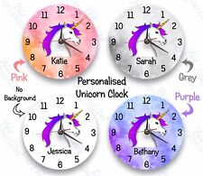 Personalised unicorn Clock with a Child's name gift Birthday, christmas