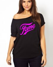 FAME sexy off the shoulder t size xs to 5x in neon pink or glitter print