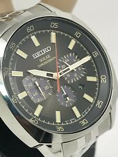 Seiko Solar Recraft Black Dial Chronograph Stainless Steel Men's Watch SSC511