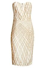 Gold Sequin Dress Size 14 Midi BNWT TFNC Halo Cream Gold