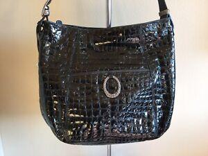 Brighton Shoulder Bag Purse Handbag Black Patent Leather Croc Print Large