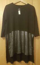 Ladies RIVER ISLAND Black Layered Metallic Tunic size14 Brand new