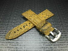24mm PYTHON Skin Leather Strap Amber Gold Band Tang Buckle for BREITLING