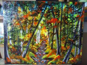 "Path Through Autumn Woods,Original Acrylic Painting.16""x 20""  By Pamela Kivi"
