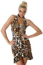 Kleid Wickeloptik Party Latina Abendmode Mini Einheitsgröße 34 36 38 leo braun