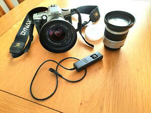 Excellent Unmarked Minolta Dynax 5 35mm SLR Film Camera Bundle.