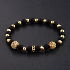Luxury Men's Micro Pave CZ Ball Crown Charm Bracelet Copper Bead Bracelets Gift