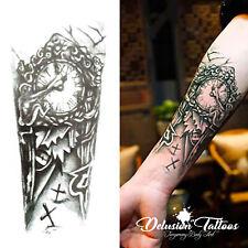 Temporary Tattoo Arm Death Skull Clock Time Cross Black Waterproof Mens Womens