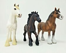 Schleich Draft Horse Lot of 3 Vintage Friesian Mare Shire Clydesdale Brown White