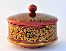 Boîte bijoux bonbonnière D 16  bois peint main signé KHOKHLOMA Artisanat Russe