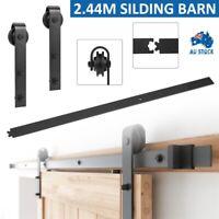 2.44M Sliding Barn Door Hardware Kit Roller Slide Track Set Interior Home Closet