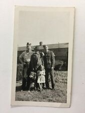 Vintage Real Photograph - #P - RAF Pilot With Family And Dog Wolf
