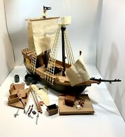 "Playmobil Vintage Pirate Ship Set EUC Rare 1978 # 3050 / Incomplete 22"" Tall"
