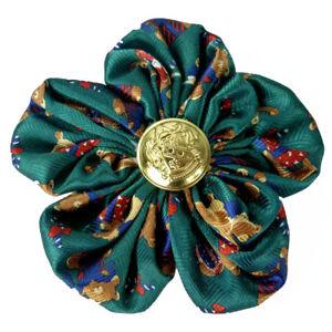 Pince à cheveux bibi broche fleur satin vert a motif nounours marron bouton doré