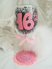 Personalised hand painted wine glass birthday 18th 25th 40th 50th sister party