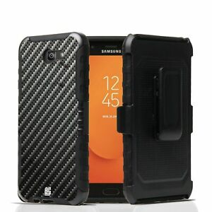 For Galaxy J7 Prime,Halo,Perx,Sky Pro  Armor Hybrid Belt Clip Case Carbon Fiber