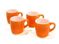 VINTAGE NEW MID-CENTURY FIRE KING A-21 ORANGE MILK GLASS COFFEE MUG SET 1970s