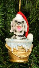 DALMATIAN PUP IN BATH BUCKET/PALE WEARING SANTA HAT DOG CHRISTMAS ORNAMENT