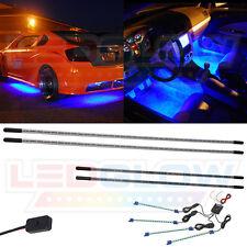 LEDGlow 4pc Blue Underbody Underglow Car LED Neon Kit w 4pc LED Interior Lights